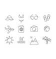 summer vacations linear icons on beach vector image