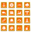 timber industry icons set orange square vector image vector image