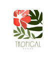tropical logo design square badge with green vector image vector image