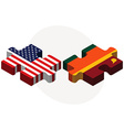 USA and Sri Lanka Flags in puzzle vector image