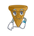 waiting sweet wafer cone isolated on maskot vector image vector image
