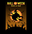 witch with halloween background vector image