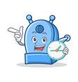with clock pencil sharpener character cartoon vector image vector image