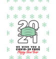 2021 with mask and we wish you a covid-19 free vector image vector image