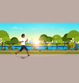 african american woman jogging outdoors modern vector image