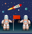 astronauts on the planet s surface a flag space vector image