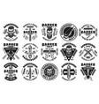 barbershop set fifteen vintage emblems vector image vector image