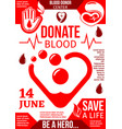 blood donor center banner with red drop and heart vector image vector image