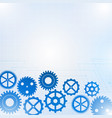 blue gears on white background vector image vector image