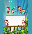 board template with cute monkeys vector image vector image
