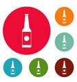 Bottle water icons circle set