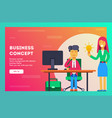 business concept the employee shares her idea vector image vector image