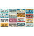 car number license plate retro usa cars vector image