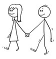 cartoon boy and girl holding hands and walking vector image vector image