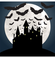 Castle and bat at night vector image vector image