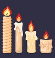 collection burning candles from paraffin wax vector image