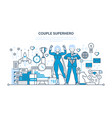 couple business people is superhero management vector image vector image
