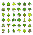 cute simple tree and plant icon filled outline vector image