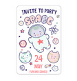 cute space flyer invitation banner template vector image vector image