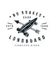 emblem of longboard shop vector image vector image