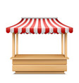 empty market stall with striped awning vector image