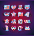 fourth of july neon signs vector image vector image