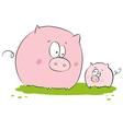 funny pig mother and child vector image vector image