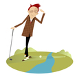 Golfer and water hazard vector image