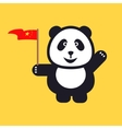 Greeting Panda is holding red national flag of vector image vector image
