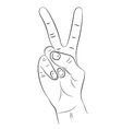 Hand with two fingers raised up on a white vector image vector image