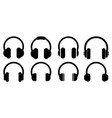 headphones icons set music sign vector image