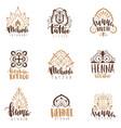 mehndi beauty salon emblems mandala henna tattoo vector image vector image