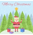 Merry Christmas Christmas card Santa Claus with vector image vector image