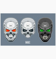 metal skull with futuristic and mechanical design vector image vector image