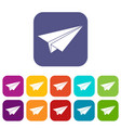 Paper airplane icons set flat