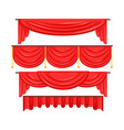 pelmet red curtains set for theatre interior vector image