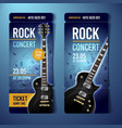 rock festival ticket design template with guitar vector image vector image