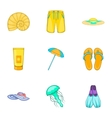 Sandy beach icons set cartoon style vector image vector image