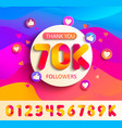 set numbers for thanks follower template design vector image vector image