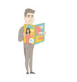 successful caucasian businessman reading magazine vector image vector image