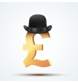 Symbol of the english pound in bowler hat