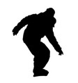 teenager on snowboard descending silhouette vector image vector image