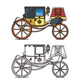 vintage carriage or wedding waggon royal chariot vector image vector image
