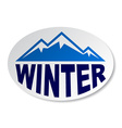 winter mountain oval sticker vector image vector image