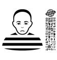 Prisoner Flat Icon With Bonus vector image