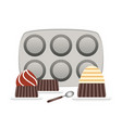baking pans for cupcakes and cupcake in plate flat vector image vector image