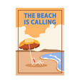 beach is calling pop art cubism poster vector image