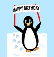 beautiful penguin walking over snow-covered plane vector image