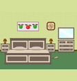 bedroom interior with a furniture including bed vector image vector image