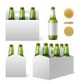 beer bottles six pack realistic 3d green vector image